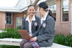Students enjoying the spacious grounds at Mary MacKillop Catholic College Wakeley